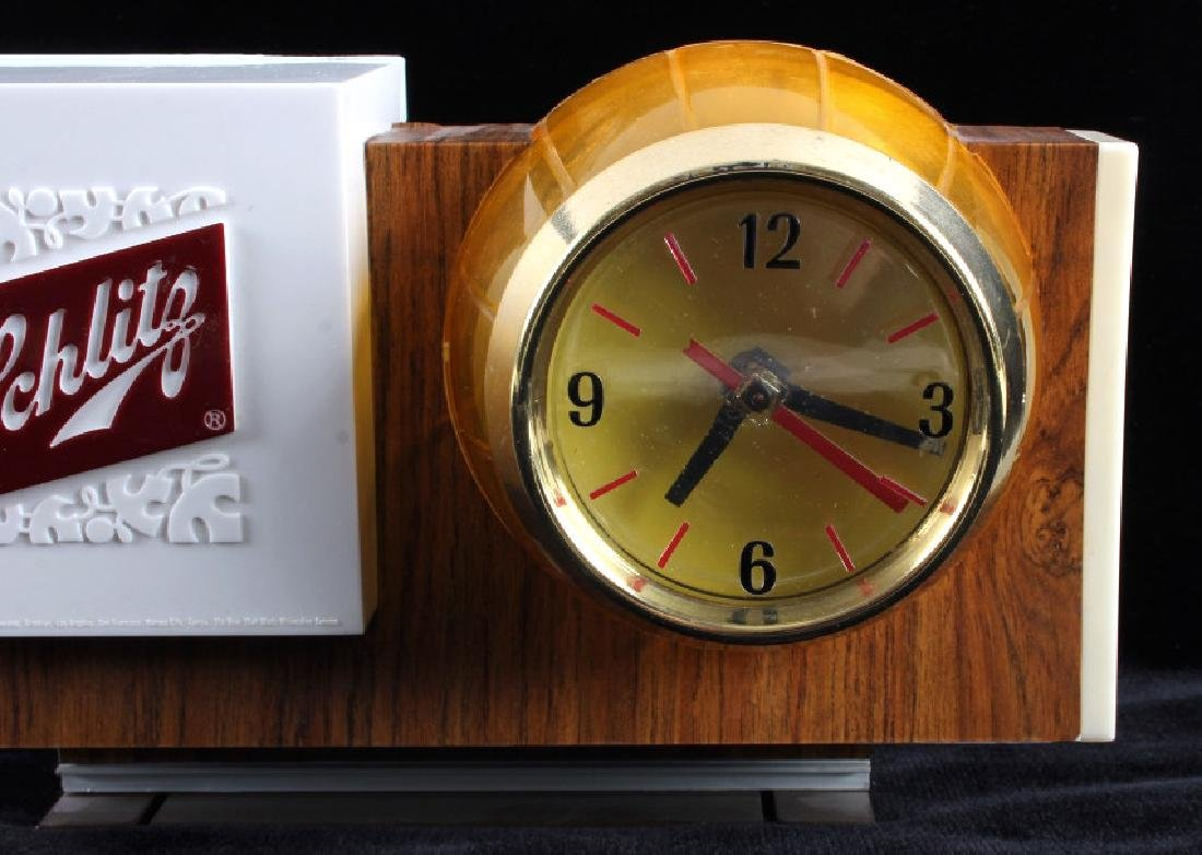 Schlitz Beer Lighted Advertising Clock Sign - 3