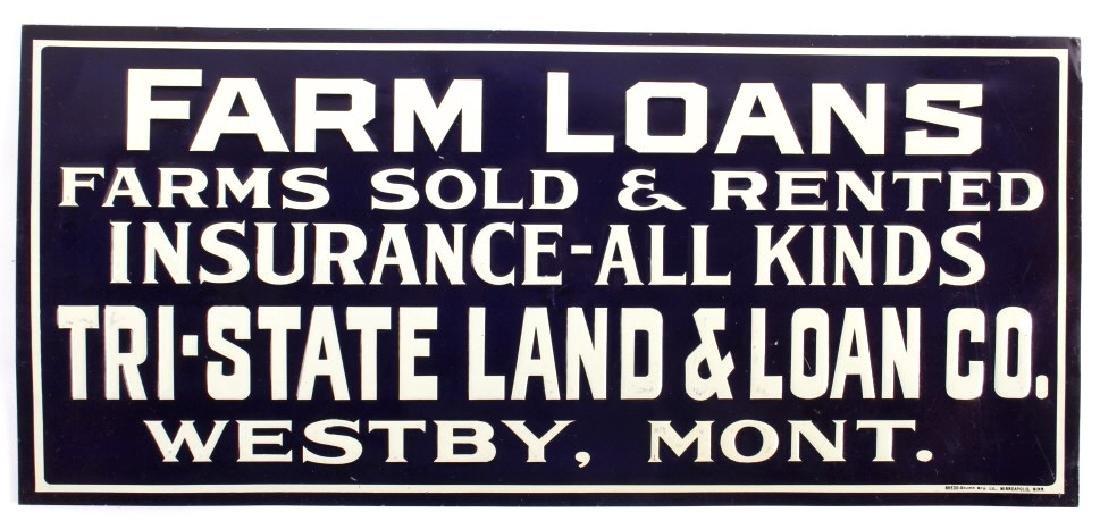Original Westby Montana Farm Loan Sign Early 1900