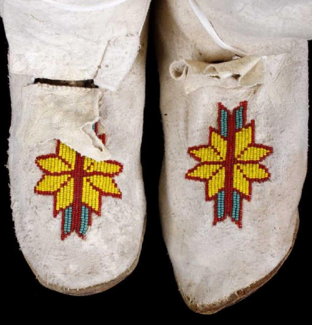 Apache High Top Hard Sole Beaded Leather Moccasins - 2