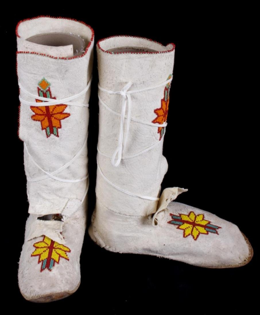 Apache High Top Hard Sole Beaded Leather Moccasins - 4