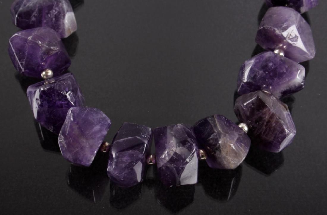 Navajo Faceted Amethyst & Silver Bead Necklace - 2