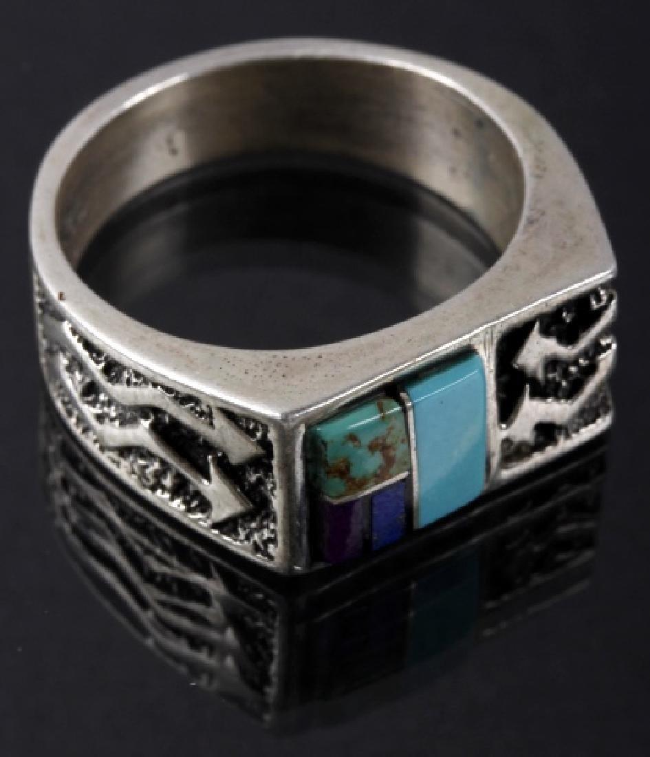 Signed Navajo Mosaic Multi-Stone Silver Ring
