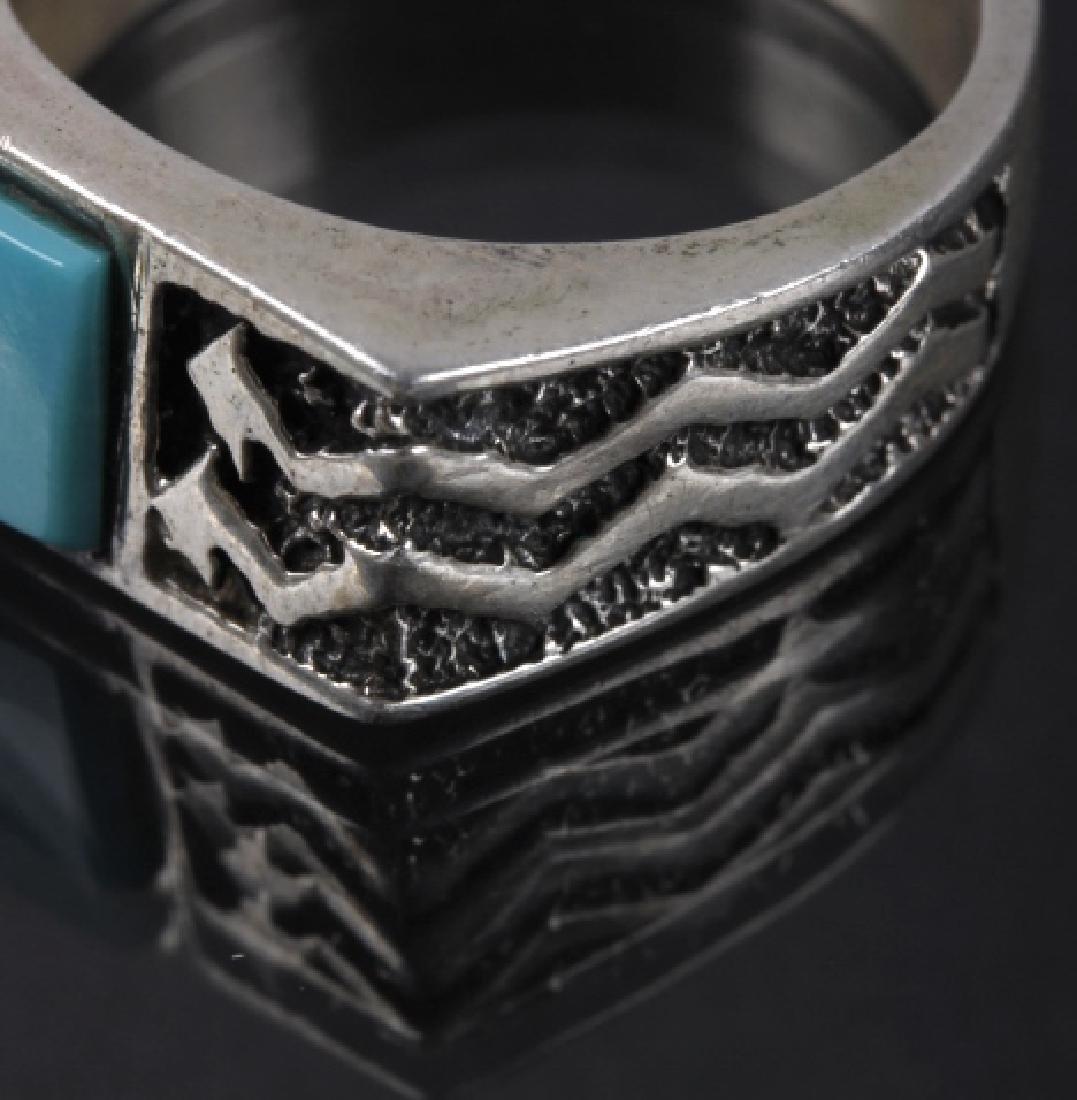 Signed Navajo Mosaic Multi-Stone Silver Ring - 2