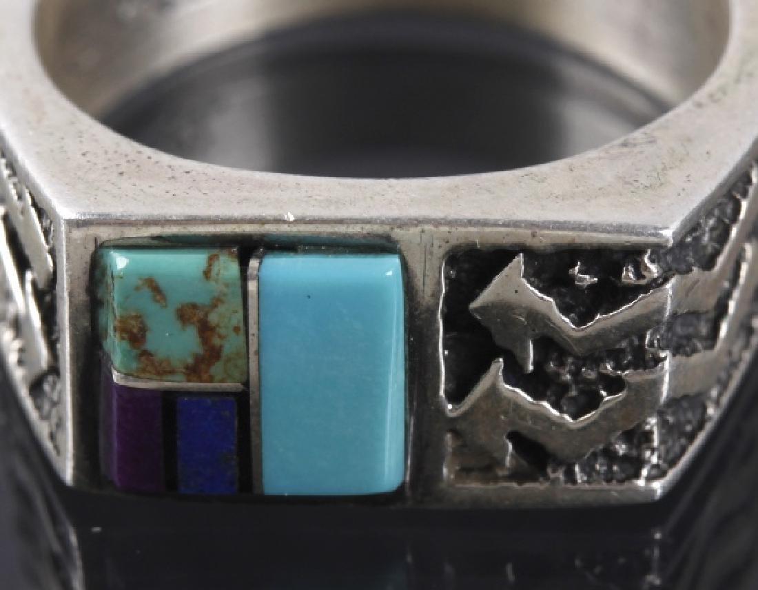 Signed Navajo Mosaic Multi-Stone Silver Ring - 4