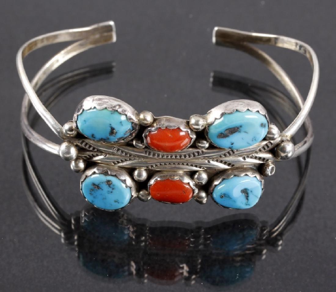 Signed Navajo Morenci Turquoise & Coral Bracelet