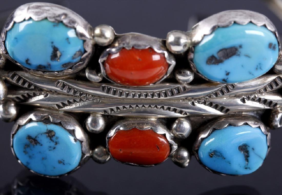 Signed Navajo Morenci Turquoise & Coral Bracelet - 3