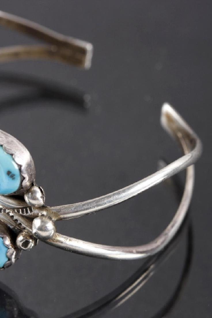 Signed Navajo Morenci Turquoise & Coral Bracelet - 4