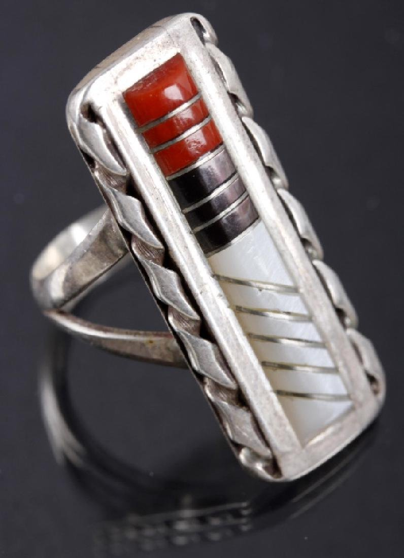 Zuni Inlaid Oxblood Coral & MOP Sterling Ring