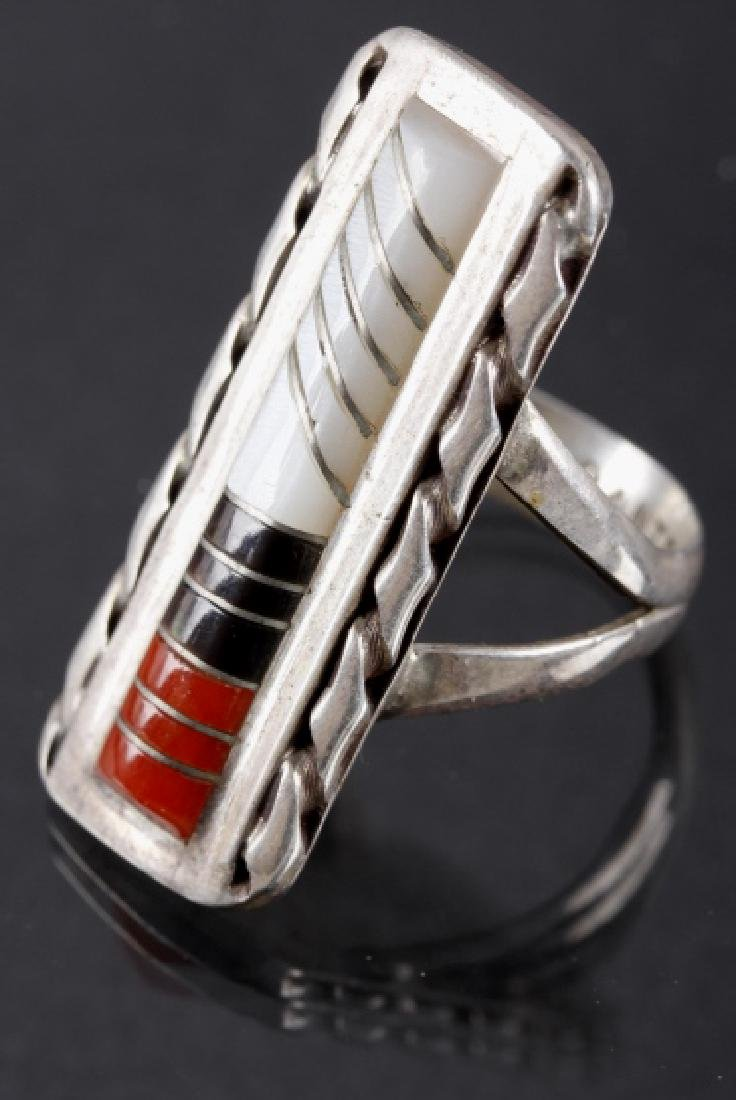 Zuni Inlaid Oxblood Coral & MOP Sterling Ring - 2