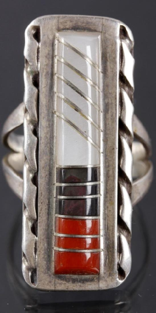 Zuni Inlaid Oxblood Coral & MOP Sterling Ring - 3