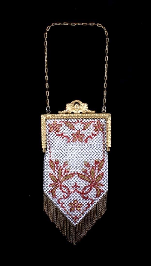 Mandalian Enameled Metal Mesh Handbag, 1920's-30's