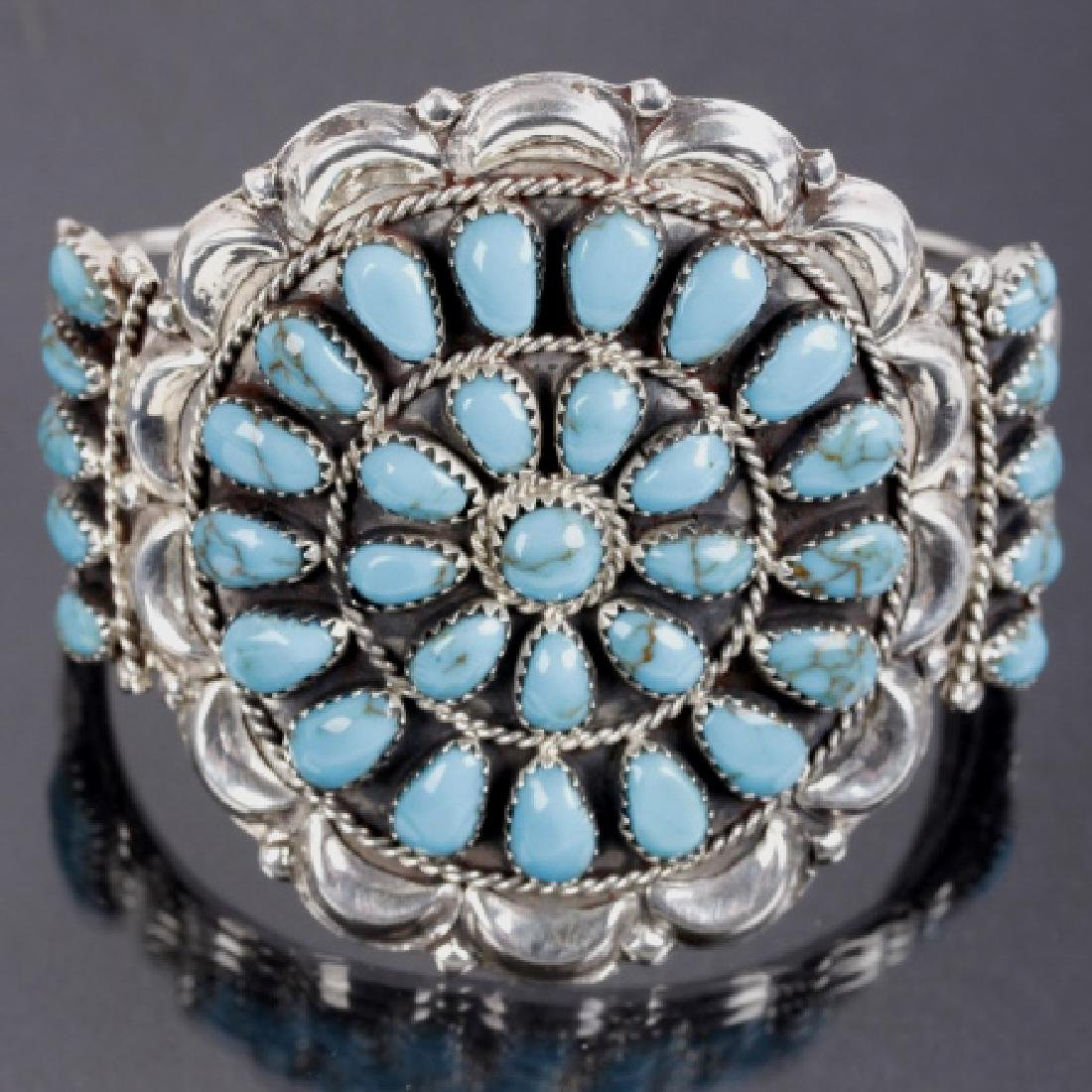 Signed Navajo Blue Gem Turquoise & Sterling Cuff