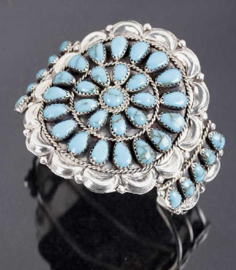 Signed Navajo Blue Gem Turquoise & Sterling Cuff - 2