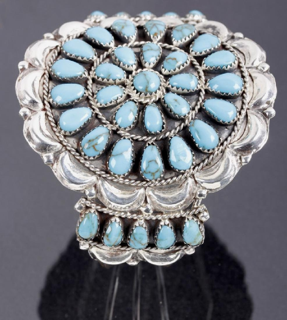 Signed Navajo Blue Gem Turquoise & Sterling Cuff - 3
