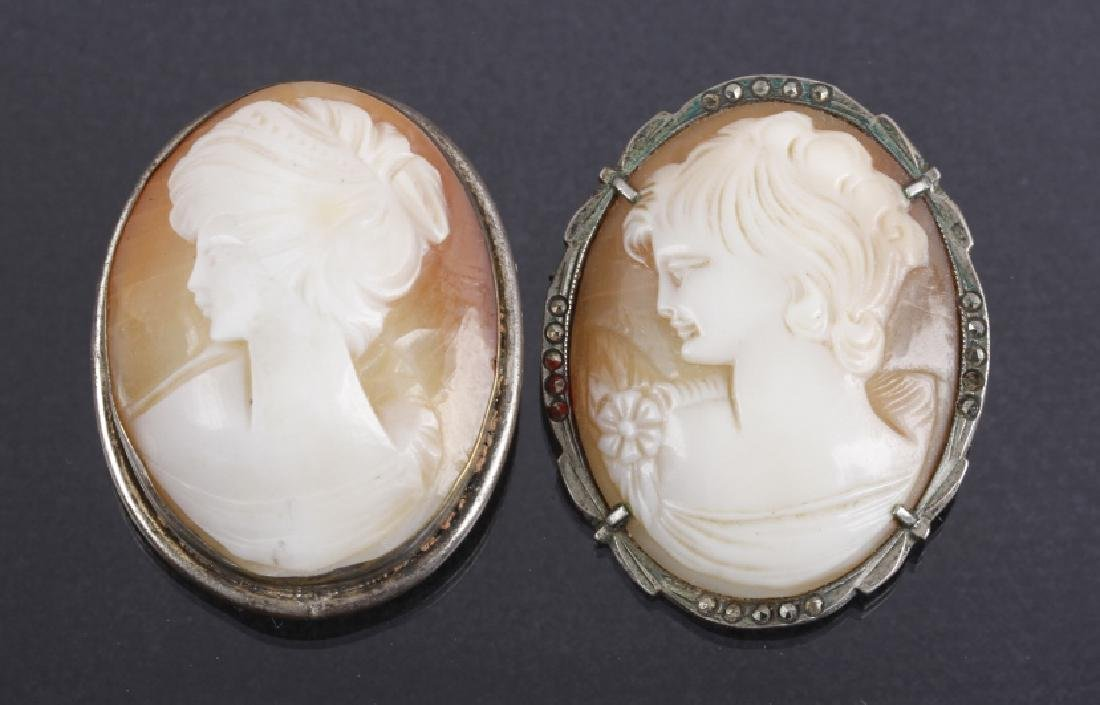Pair of Antique Carved Shell Cameo Brooch Pins