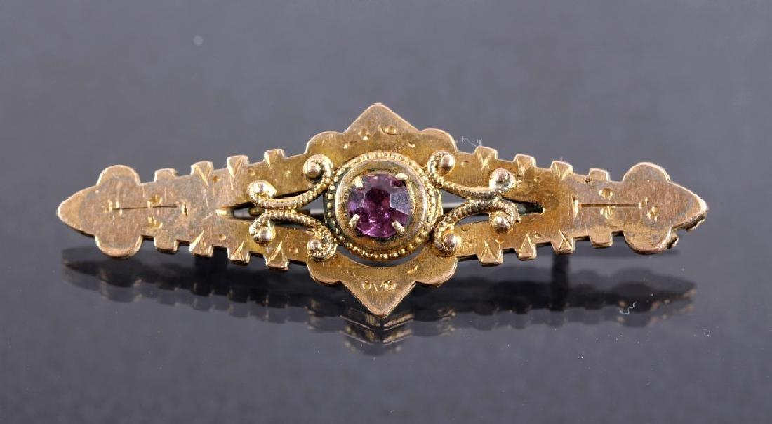 Victorian Gold And Amethyst Bar Pin Brooch - 5