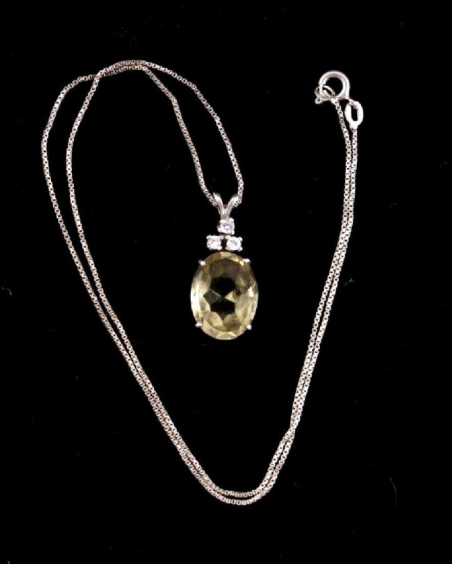 Citrine And Diamond Pendant With Sterling Chain