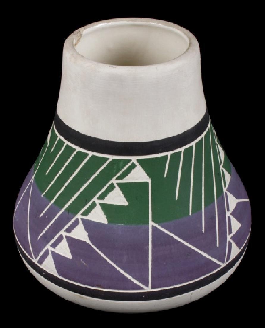 Signed Sioux Polychrome Geometric Motif Vase