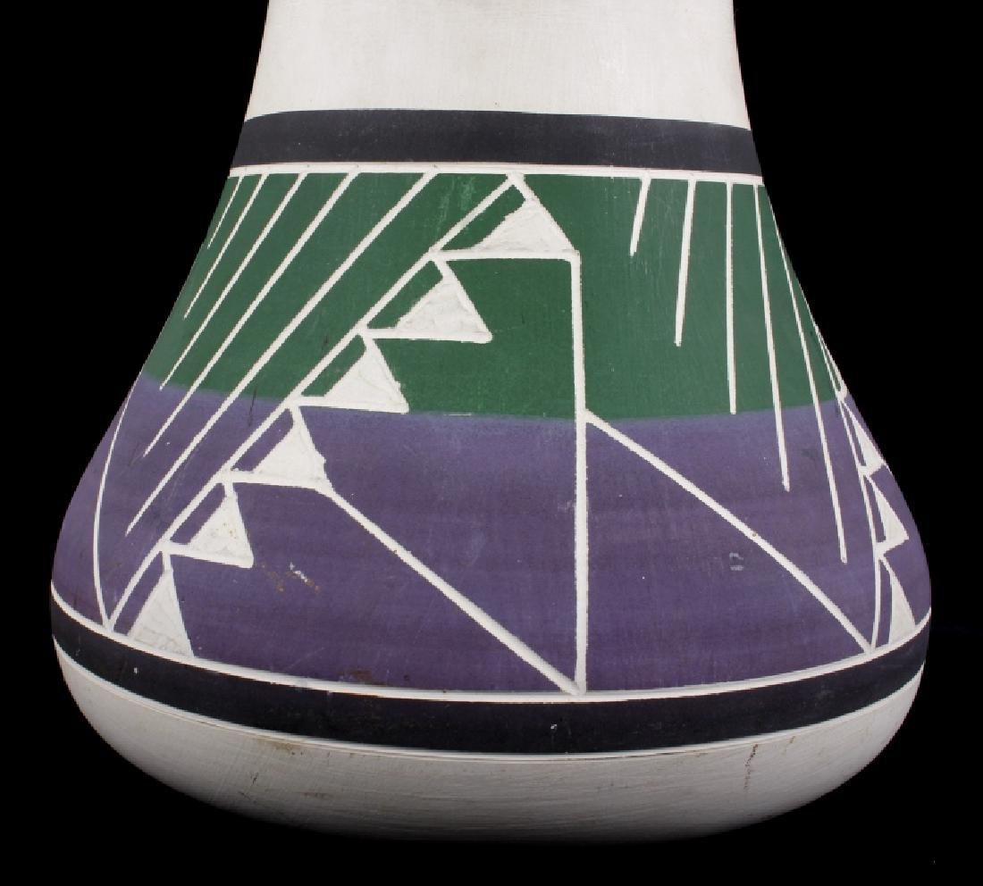 Signed Sioux Polychrome Geometric Motif Vase - 2