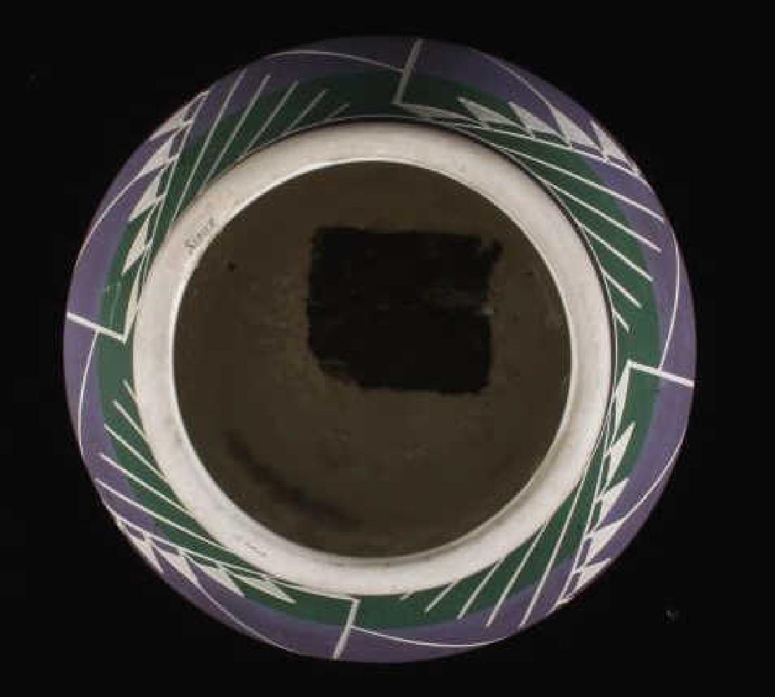 Signed Sioux Polychrome Geometric Motif Vase - 3