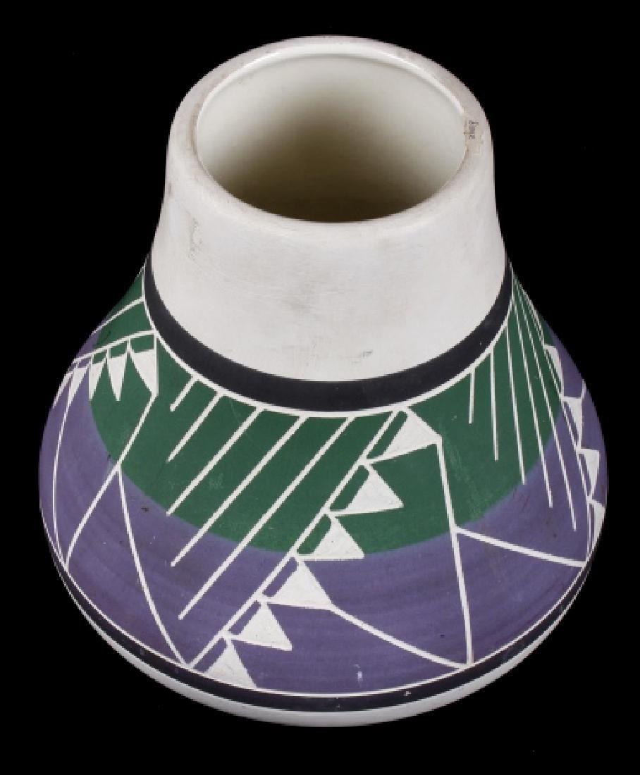 Signed Sioux Polychrome Geometric Motif Vase - 5