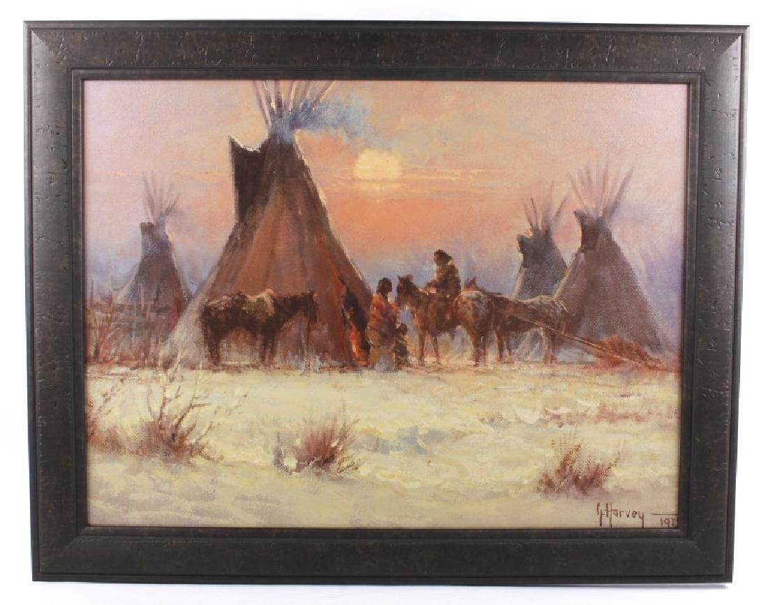 G. Harvey Framed Giclee Native Americans At Camp