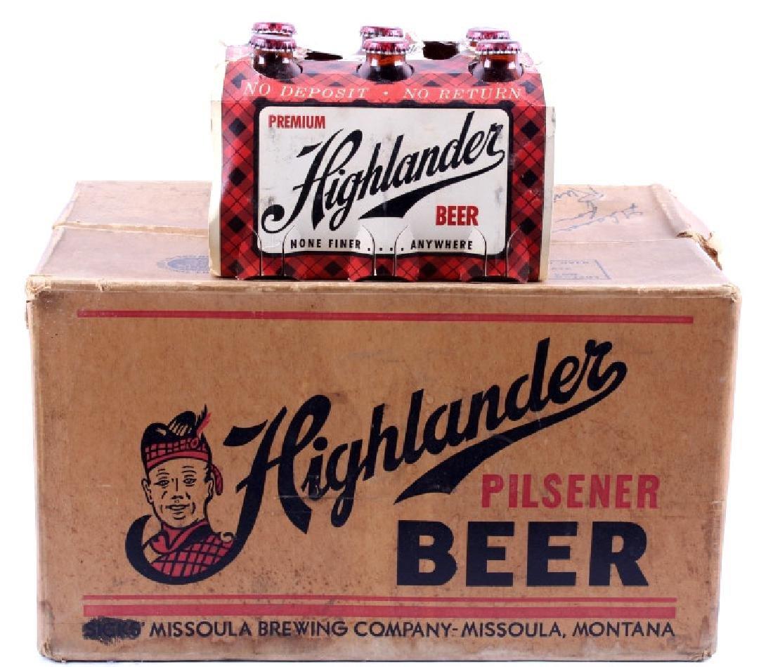 Highlander Beer Case And Six Pack Bottles