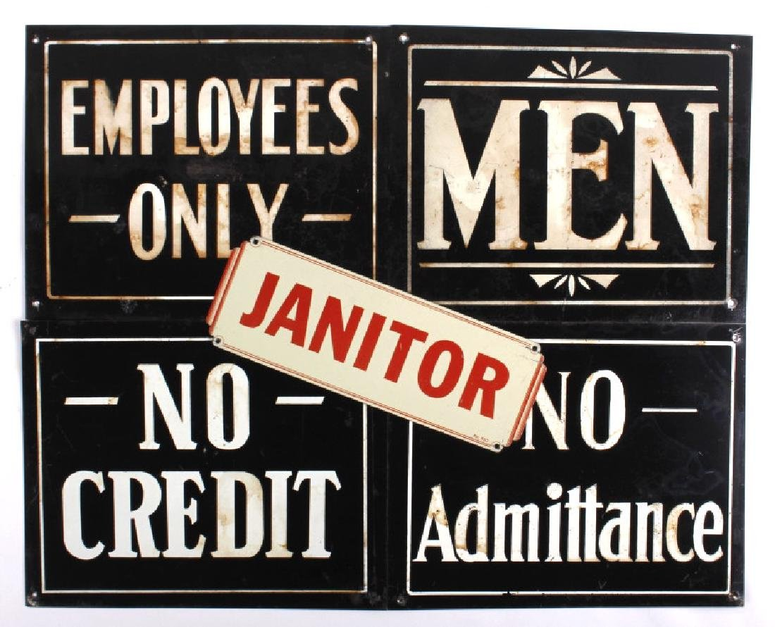 Antique Tin Building Compliance Signs