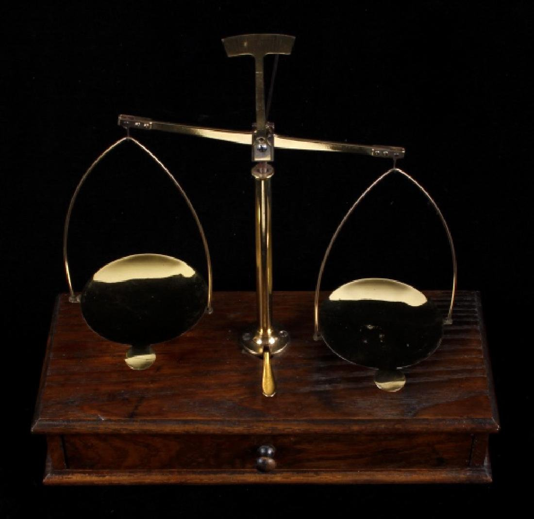 Antique Portable Brass & Hardwood Gold Scale - 2