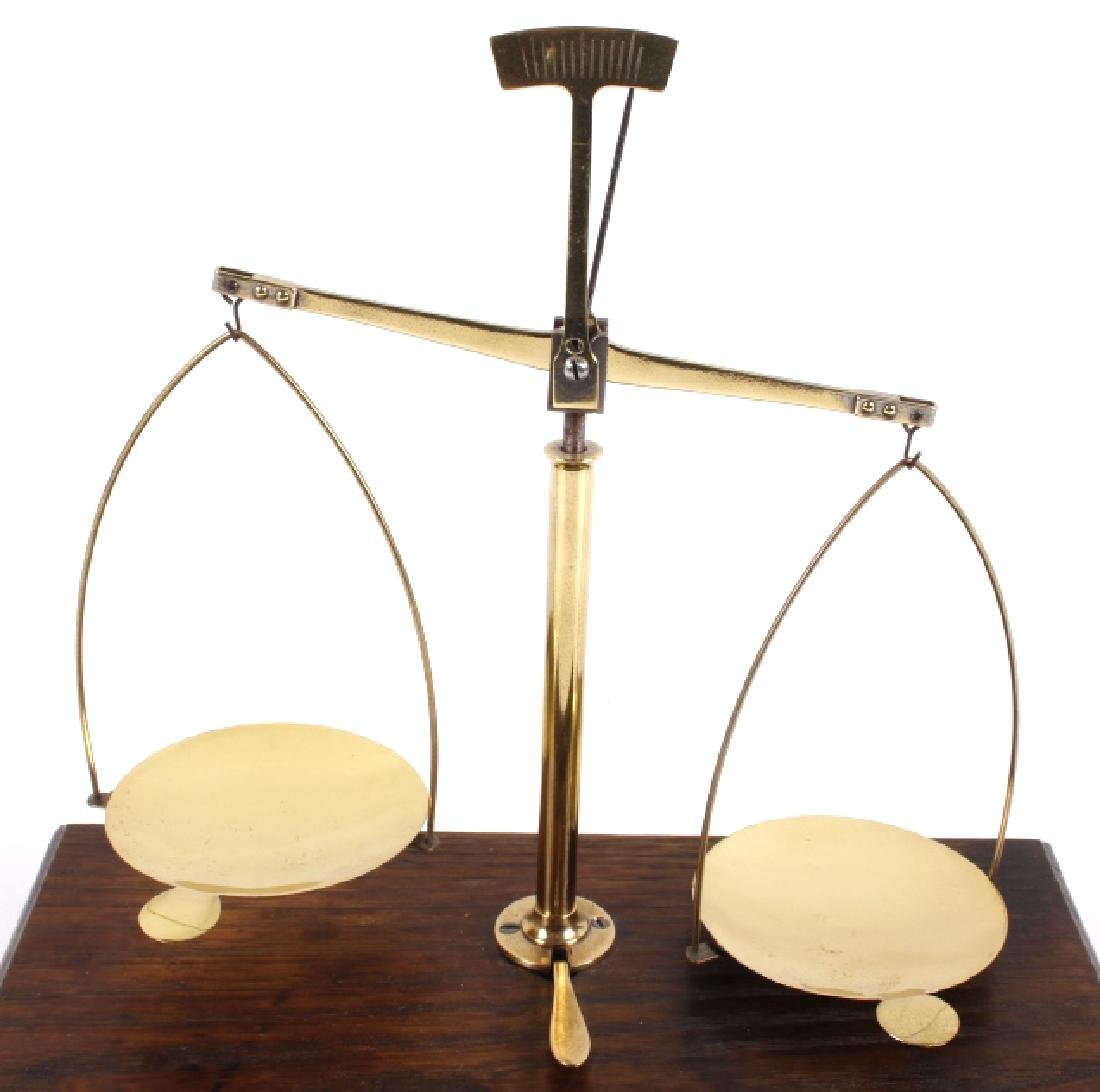 Antique Portable Brass & Hardwood Gold Scale - 3