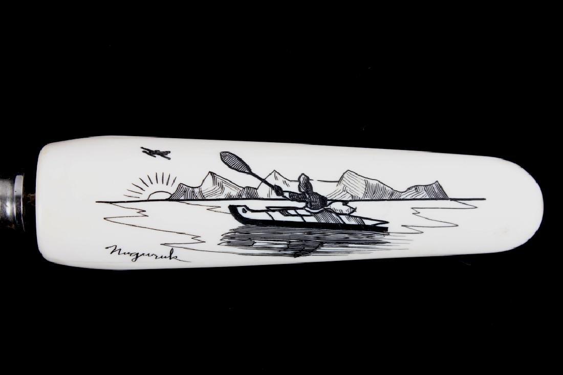 Scrimshaw 2 Piece Carving Set Signed Nuguruk - 6