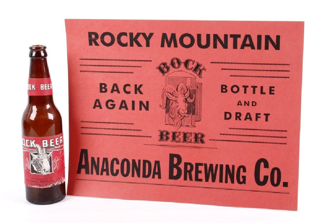 Anaconda Brewing Bock Beer Bottle & Advertisement
