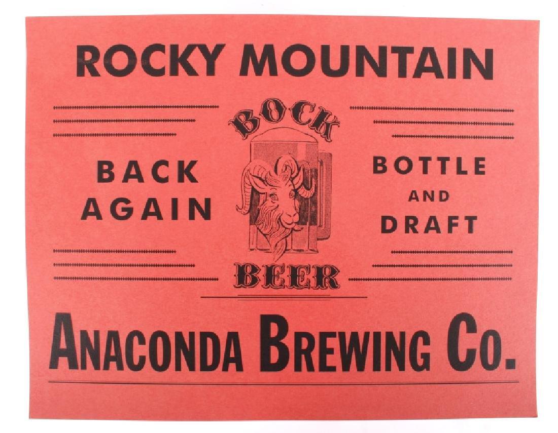 Anaconda Brewing Bock Beer Bottle & Advertisement - 2