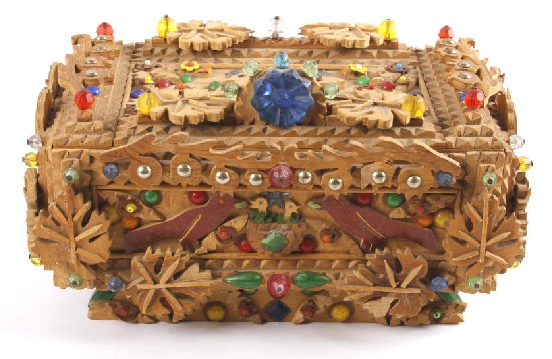 Hand Carved Wooden Tramp Folk Art Box