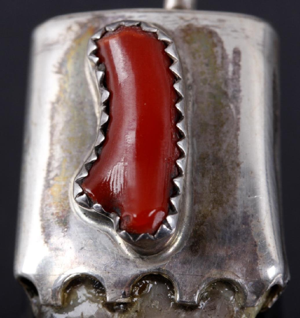 Silver Capped Bear Claw Pendant w/ Oxblood Coral - 2