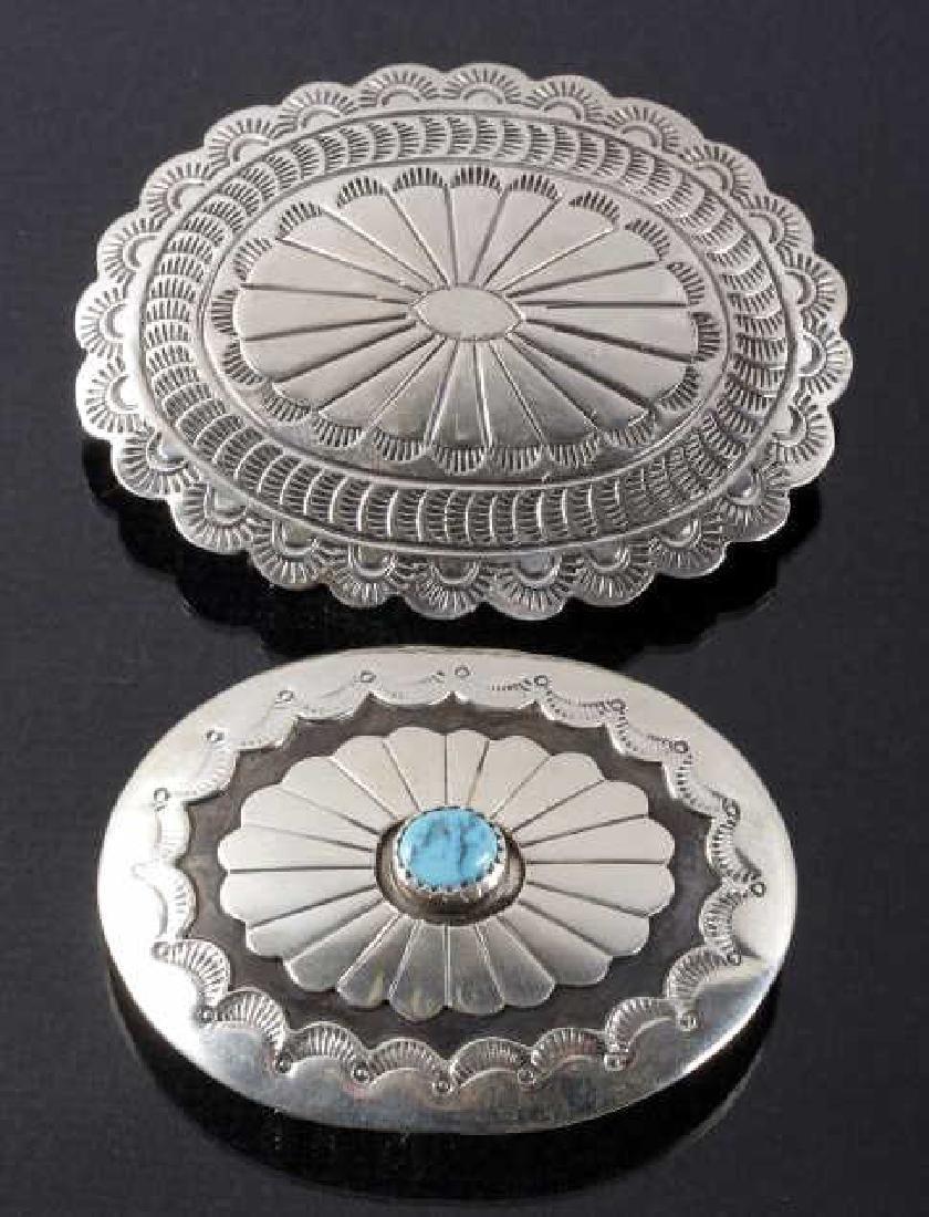 Two Navajo Engraved Sterling Silver Belt Buckles