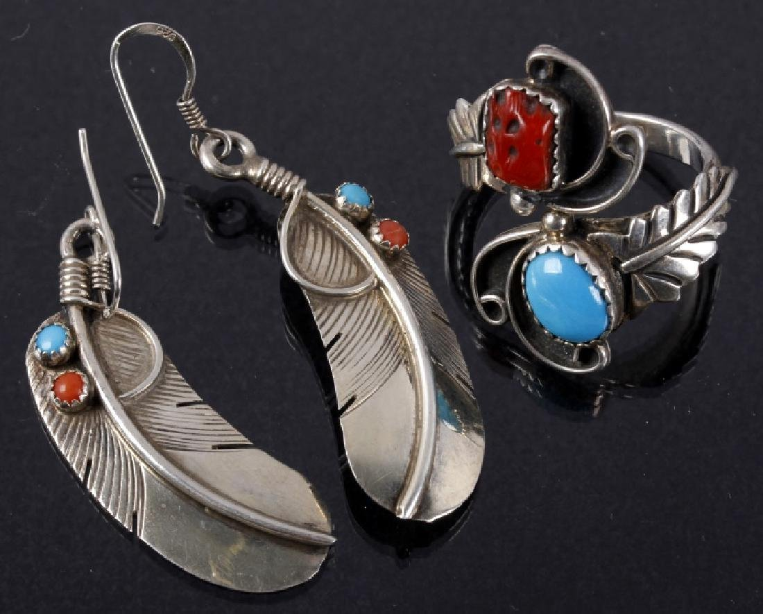 Navajo Pat Platero Ring & Feather Motif Earrings