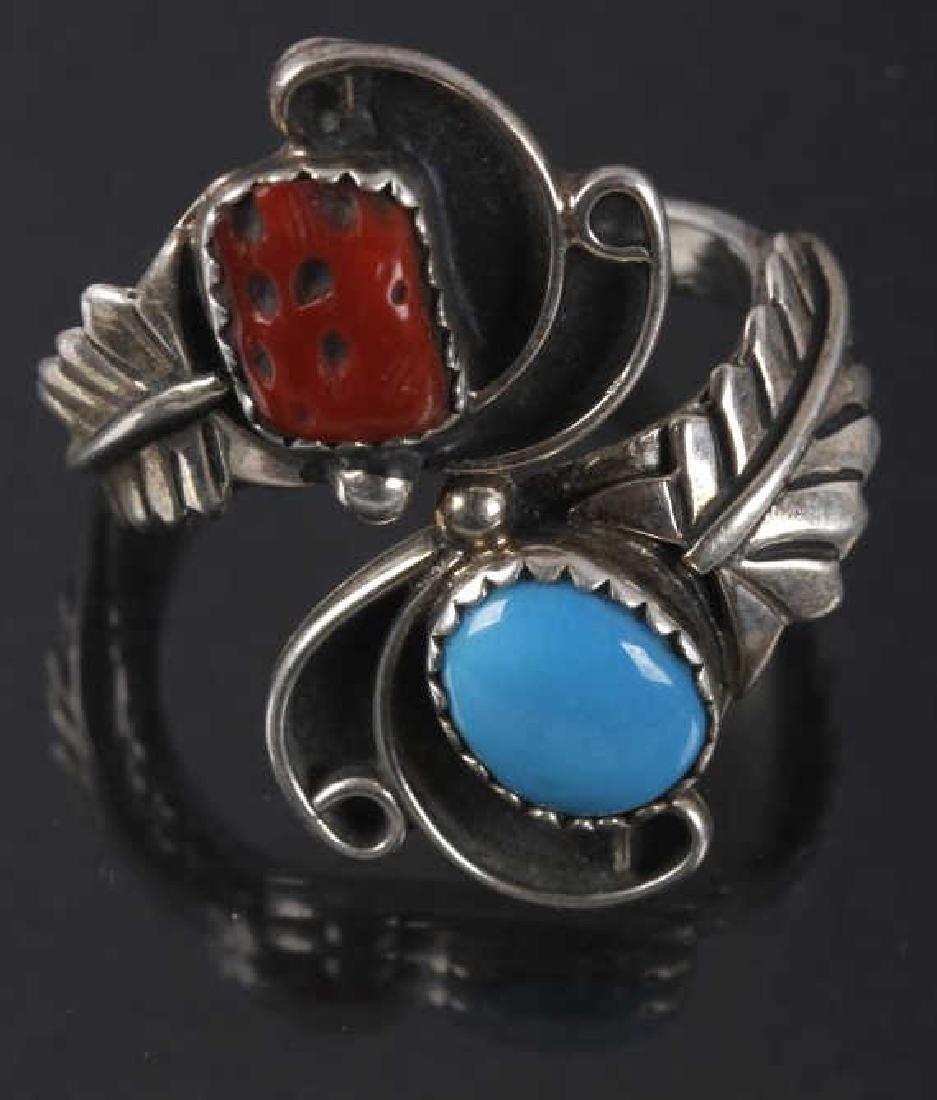 Navajo Pat Platero Ring & Feather Motif Earrings - 2