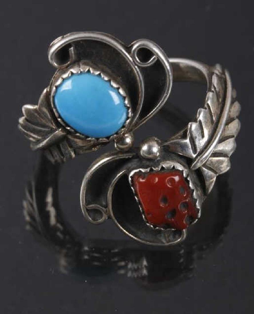 Navajo Pat Platero Ring & Feather Motif Earrings - 3