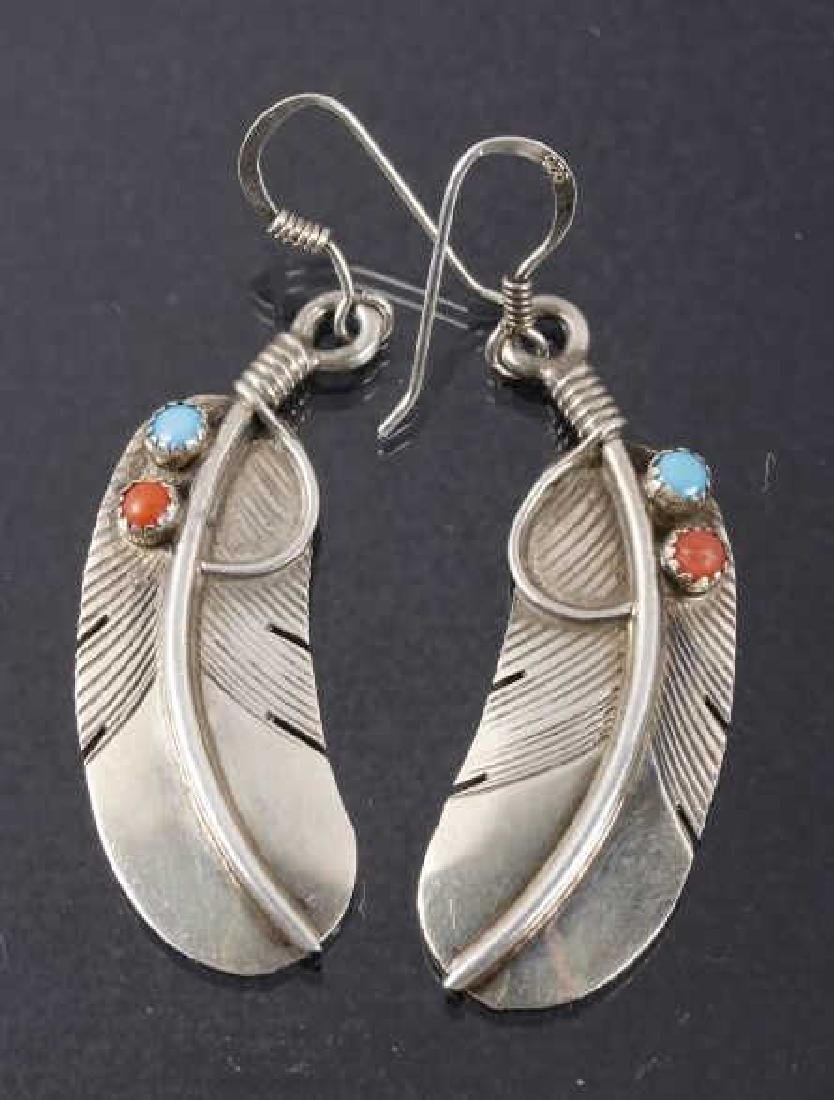 Navajo Pat Platero Ring & Feather Motif Earrings - 6