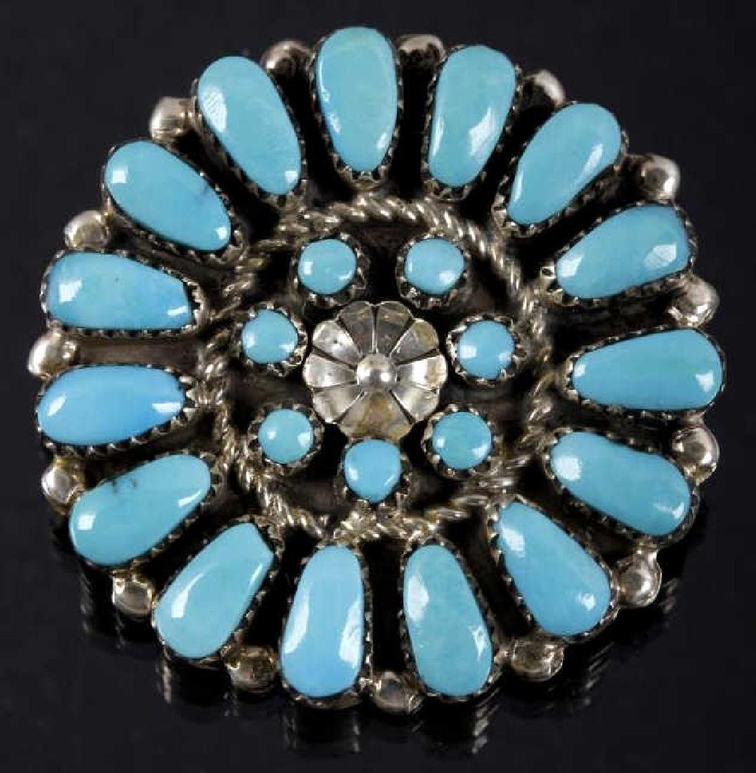 Signed Zuni Petite Sterling & Turquoise Brooch Pin