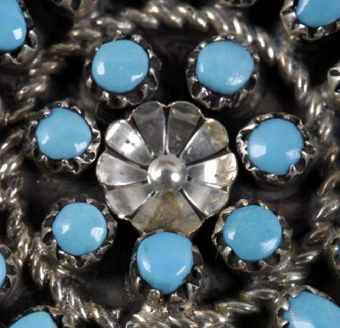 Signed Zuni Petite Sterling & Turquoise Brooch Pin - 2