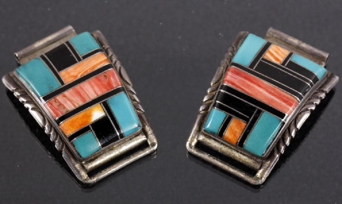Signed Zuni Native Inlaid Mosaic Watch Band Tips