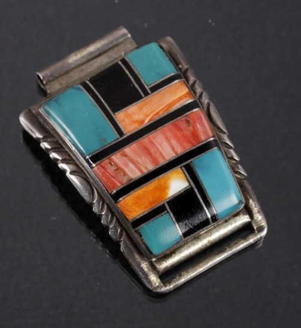 Signed Zuni Native Inlaid Mosaic Watch Band Tips - 2