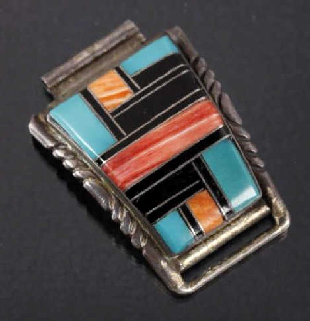 Signed Zuni Native Inlaid Mosaic Watch Band Tips - 4