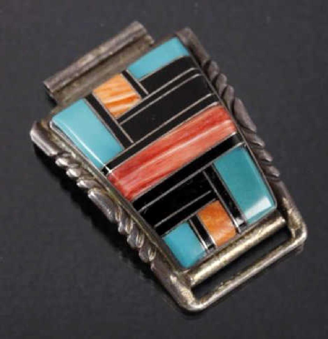 Signed Zuni Native Inlaid Mosaic Watch Band Tips - 4