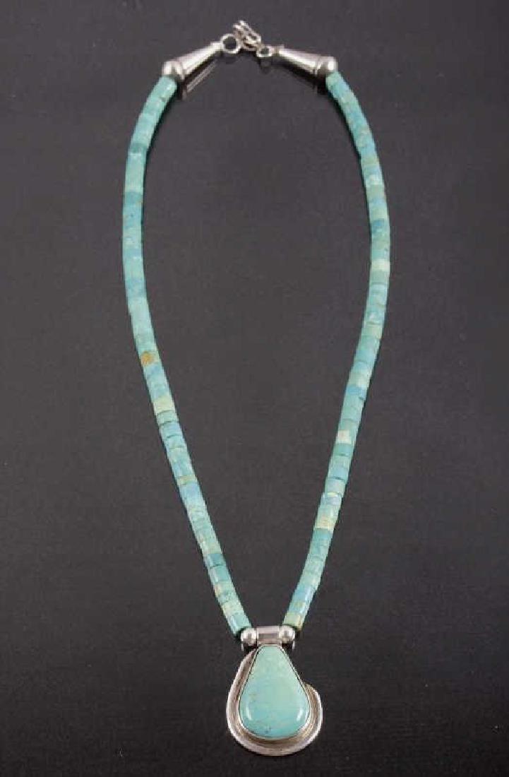 Navajo Turquoise Mountain, Silver Pendant Necklace