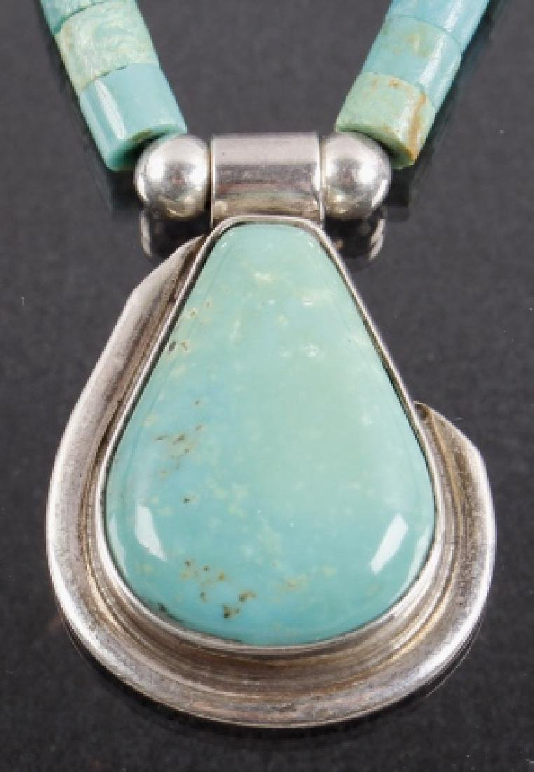 Navajo Turquoise Mountain, Silver Pendant Necklace - 2
