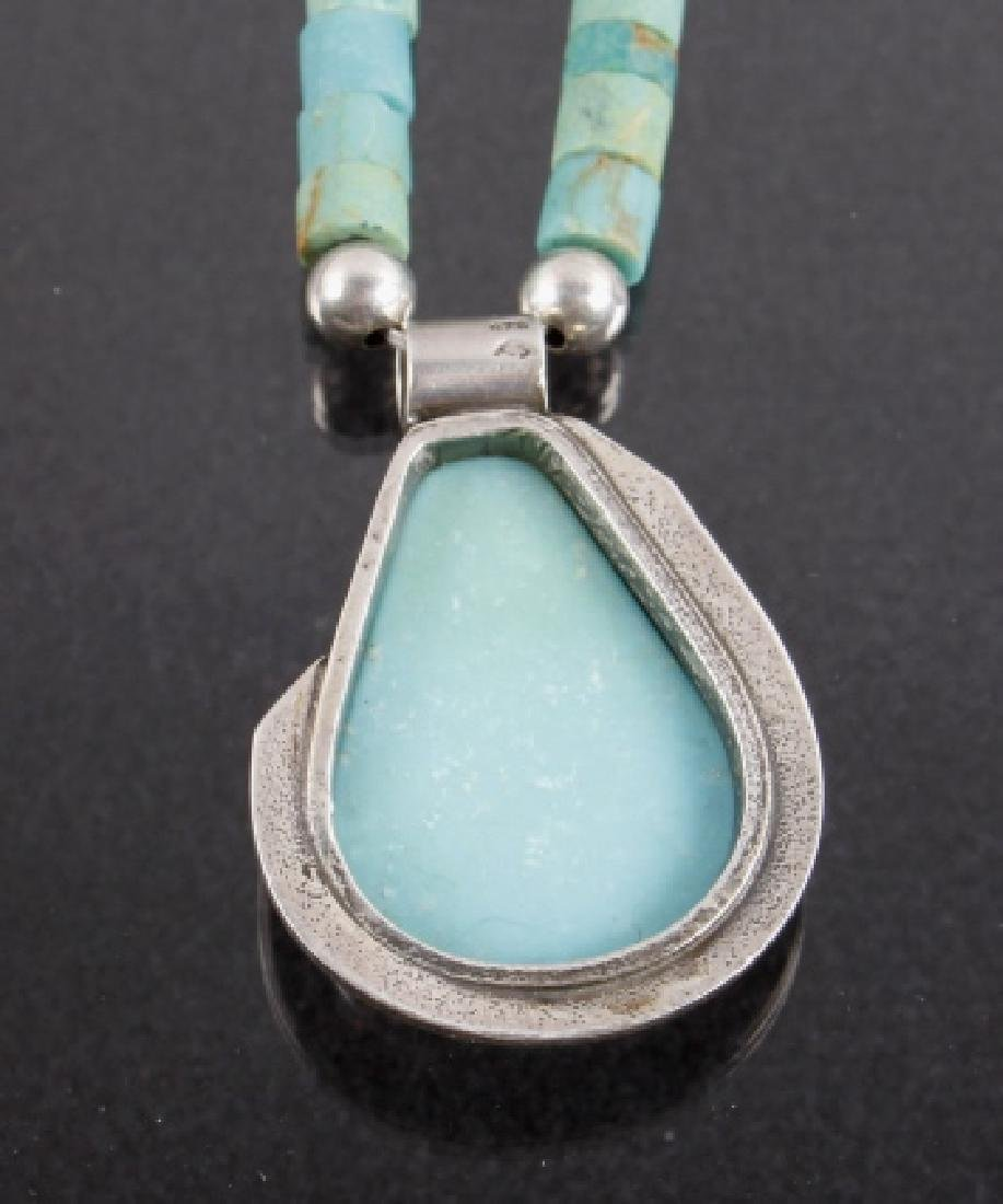 Navajo Turquoise Mountain, Silver Pendant Necklace - 5