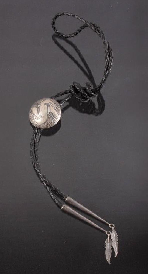Signed Navajo Sterling Silver Engraved Bolo Tie